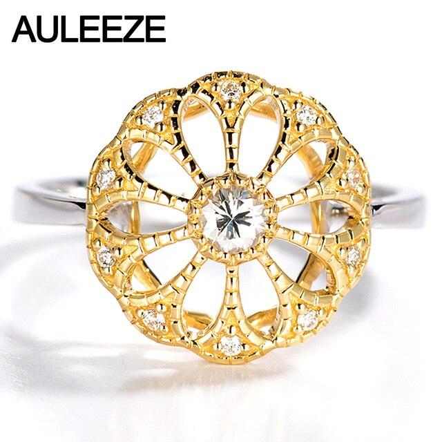 Auleeze Romantische Blume Naturlicher Diamant Voll 18 Karat 750 Gelb