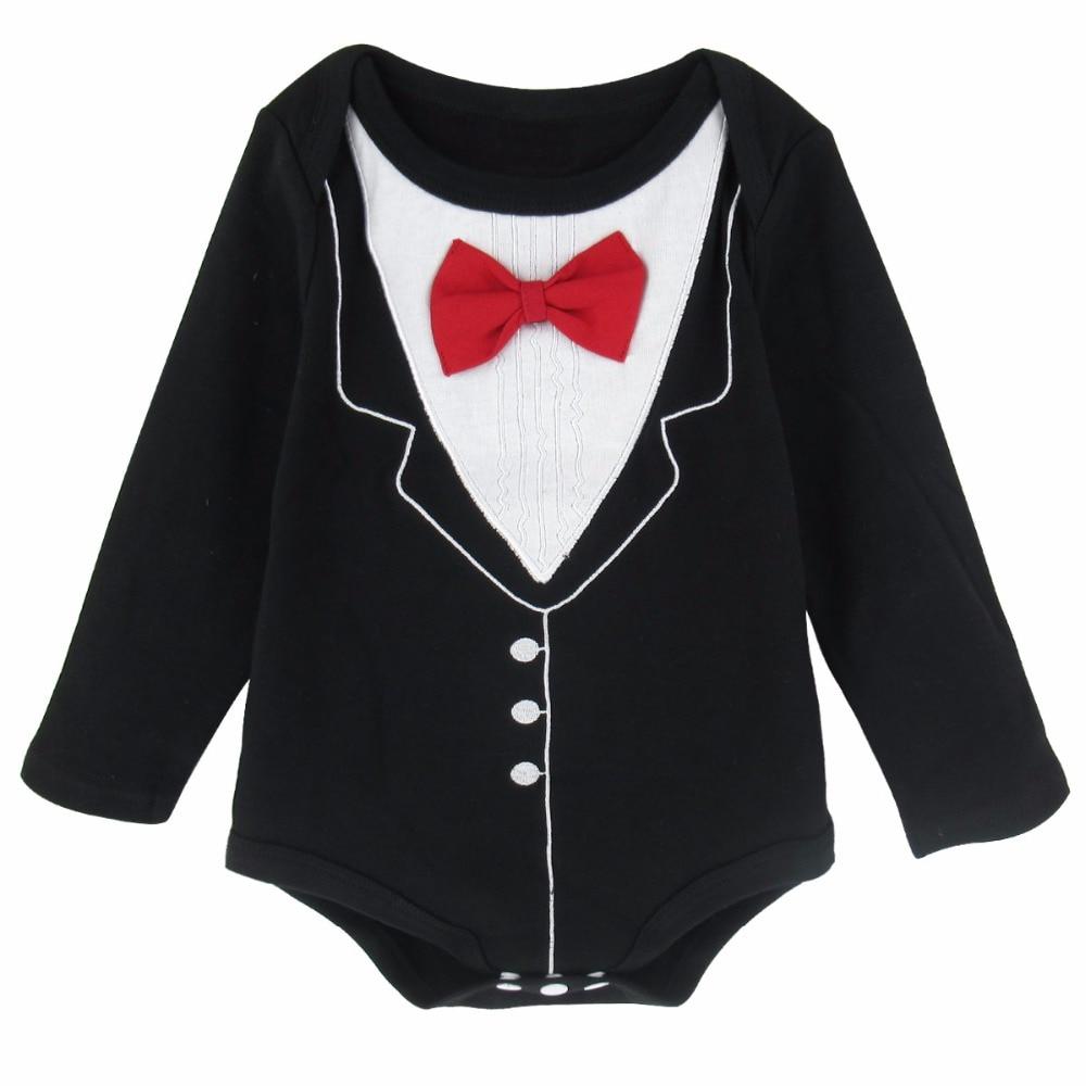 9d99d129f84b Baby Boy Gentleman Costume Bodysuit Infant Tuxedo Onesie Long ...