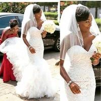 African Mermaid robe de mariee Sweetheart Black Girl Women Wedding Gowns Custom Made Bride Dress Lace Wedding Dresses 2020