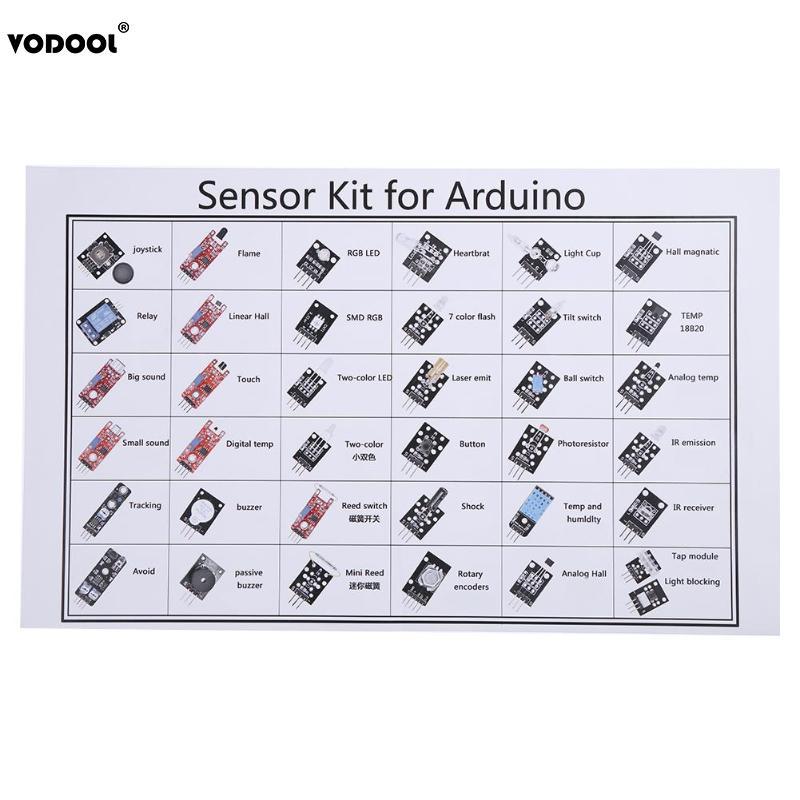 VODOOL 37Pcs/Set Sensor Module Kits For Raspberry PI Arduino UNO R3 Mega2560 Mega328 LED Sensor Switch Module Set With Box