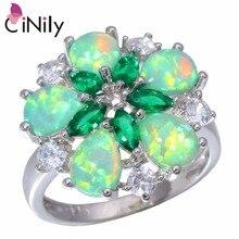 Cinily создан Зеленый Огненный Опал Кристалл кубического циркония посеребренные кольцо оптом и в розницу для женщин jewelry кольцо Sz 6- 10 OJ5065