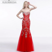 Robe De Soiree Longue Red Beading Prom Dress Long 2017 Mermaid Formal Evening Dresses Girls Party Celebrity Gowns
