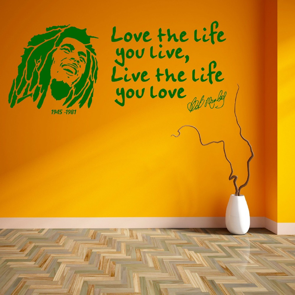 Love The Life You Live Quotes With Bob Marley Wall Sticker Art