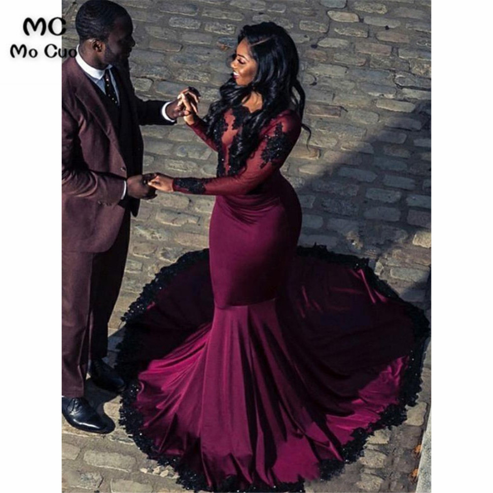 2019 African Arabic Mermaid Prom Dresses Long Sleeve With Appliques Lace Elastic Satin Formal Women's Evening Dresses Prom Dress