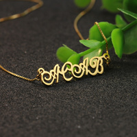 Gold Color Customized Name Silver Necklace Personalized Nameplate Cute Jewelry DIY Pendant Memorial Gift For Mom
