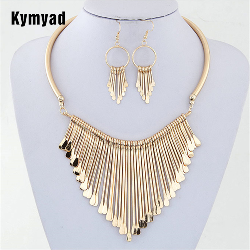 Kymyad Fashion Europen Bijoux Jewelry Set Trendy Chunky Tassel Necklaces & Pendants Jewelry Sets Women Earing and Necklace Sets