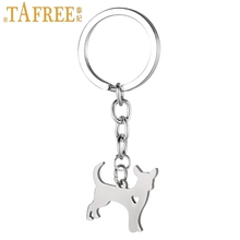 TAFREE dog pendant Mexico Chihuahua Canis lupus familiaris keychain men women fashion stainless steel animal key chains SKU12(China)