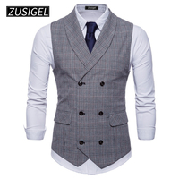 ZUSIGEL Men's Formal Vest V Neck Sleeveless Business Suit Double Breasted Classic Plaid Waistcoat