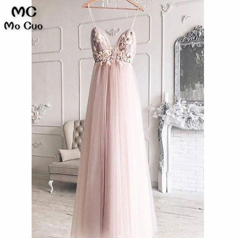 Sexy New Evening Dresses Long Deep V Neck Spaghetti Straps Appliques Flowers Beaded Tulle Evening Dress for Women Custom Made