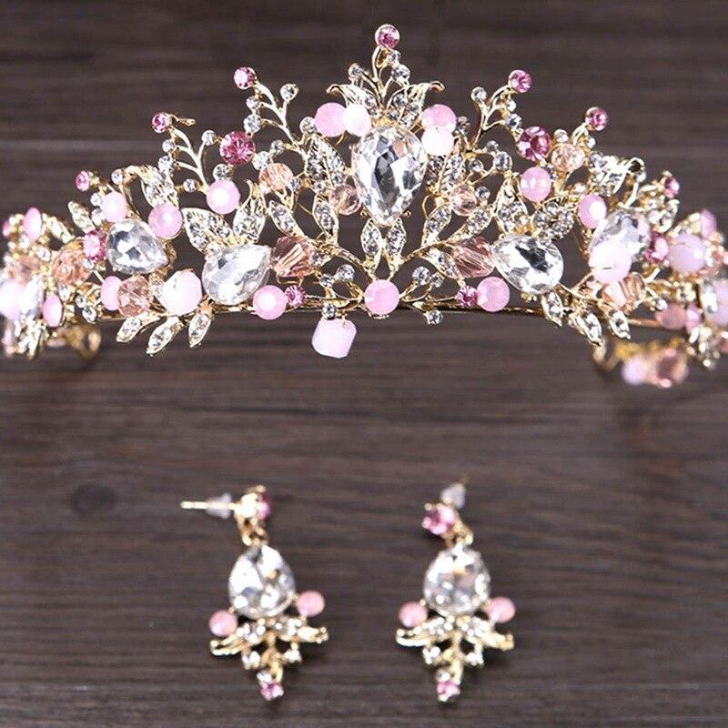 Luxury Pink Gold Color Bridal Crowns Handmade Bride Headband Crystal Wedding  Queen Crown Wedding Hair Accessories