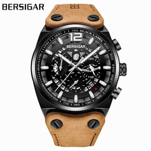BERSIGAR Luxury Military Watch Men's Hollow Brown Leather Strap Watch Chronograph
