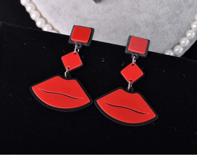 Earring Hip-Hop Fashion Jewelry Women Lips For Girl Party Friends Gift Punk Sexy Red