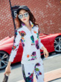 Two-piece Floral Silk Leisure Suit Women Spring Sport Set