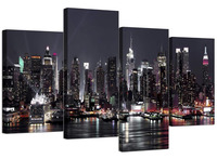4 Piece Canvas Pictures York Skyline for Your Living Room NYC Cityscape Prints Modern Wall Art 4 Pieces Drop shipping