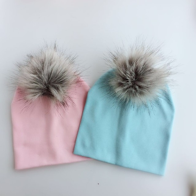 fbf2bc60cdb children s infant fashion spring autumn baby colorful raccoon Faux Fur pom  pom fur hat cap beanie for girls and boy kids newborn