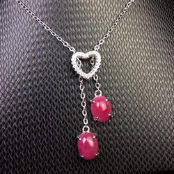 Мода 925 Серебряный рубиновый кулон сердце 2 шт. Природный Рубин серебряный кулон твердых серебро 925 рубин ювелирные изделия подарок на день