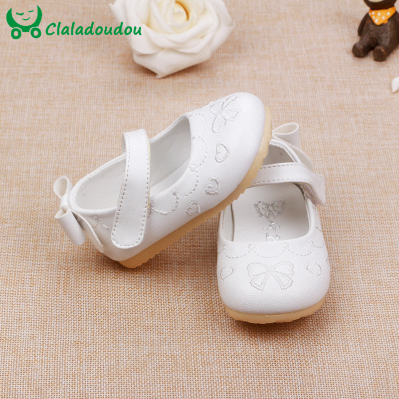 Baby Girls Shoes Soft Bottom Bowknot Cute Princess Dress Party Shoes PU Leather Korean Kids Girl Footwear Insole 11.5-13.5CM ...