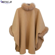 new style, wool woollen cloth coat, big yard, medium long style, fox hair collar, cape shawl coat, high quality, free shipping(China)