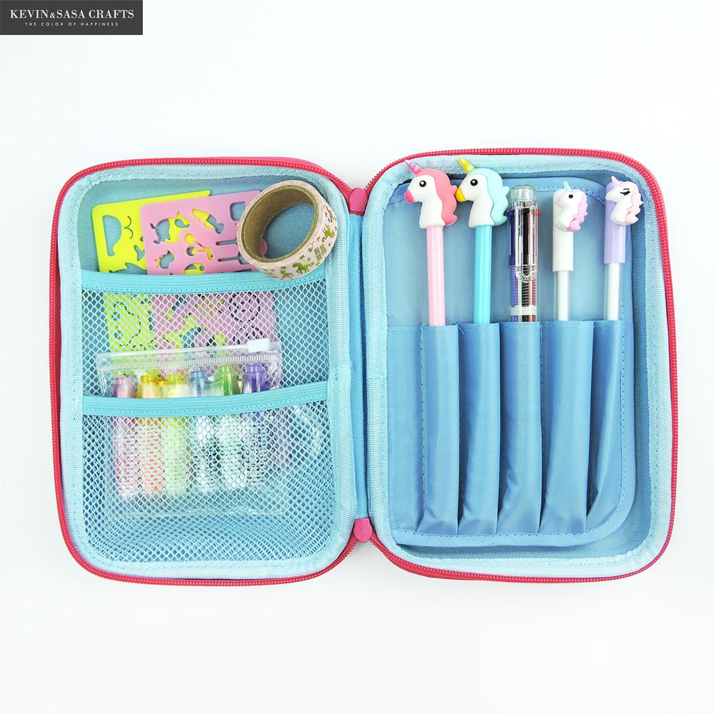 Large Capacity EVA Pencil Case Set Pen Pouch Bag For Kids Double zipper School Pencil Box With Components Stationery Supplies large capacity zipper pencil case eva stationery pouch cute cartoon animal pencil case pen bag school stationery supplies