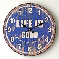 Vintage Old Blue Life Is Good Wall Clock Europa Mondern Design Wood Decorative Digital Clock