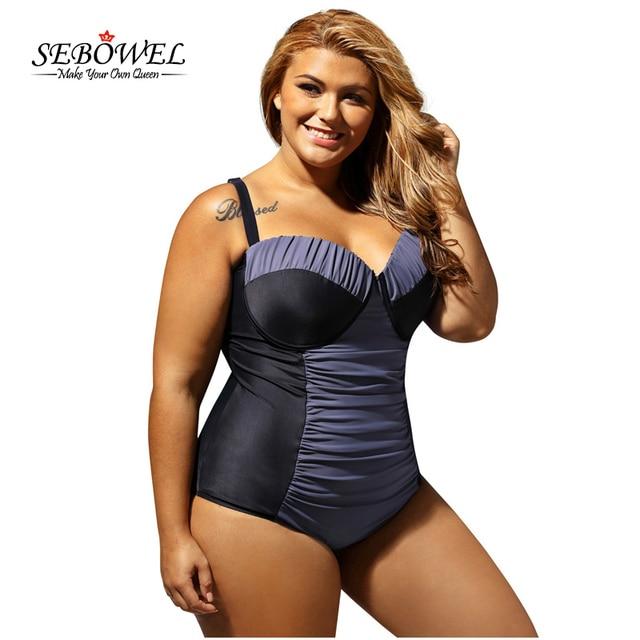 sebowel 2017 women's plus size color block ruched one piece
