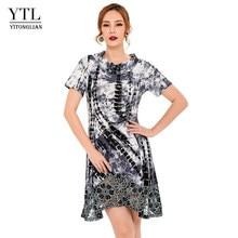 e868959890e3ee1 YTL Для женщин короткий рукав лето органза кружева асимметричный подол  двойной слой серый Fit And Flare прямое платье H212