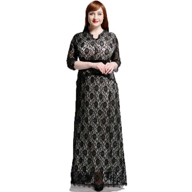 2233b345612ba 2018 Womens Elegant Lace Party Dress Big Sizes Sexy Backless Black Maxi  Long Dresses Plus Size