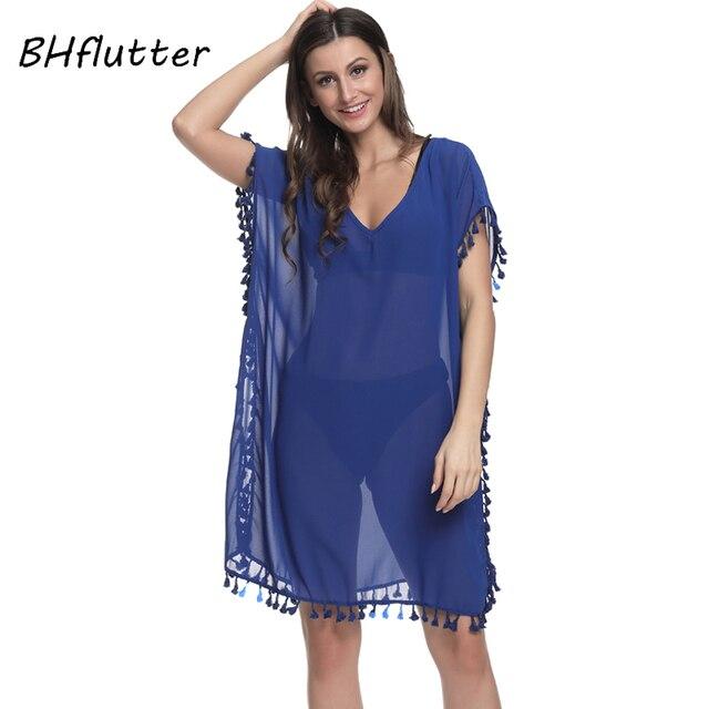 759f8e82bc0 BHflutter 2018 Women Beach Dress New Style Batwing Sleeve See Through Sexy Chiffon  Dress Tassel Casual Summer Dresses Plus Size