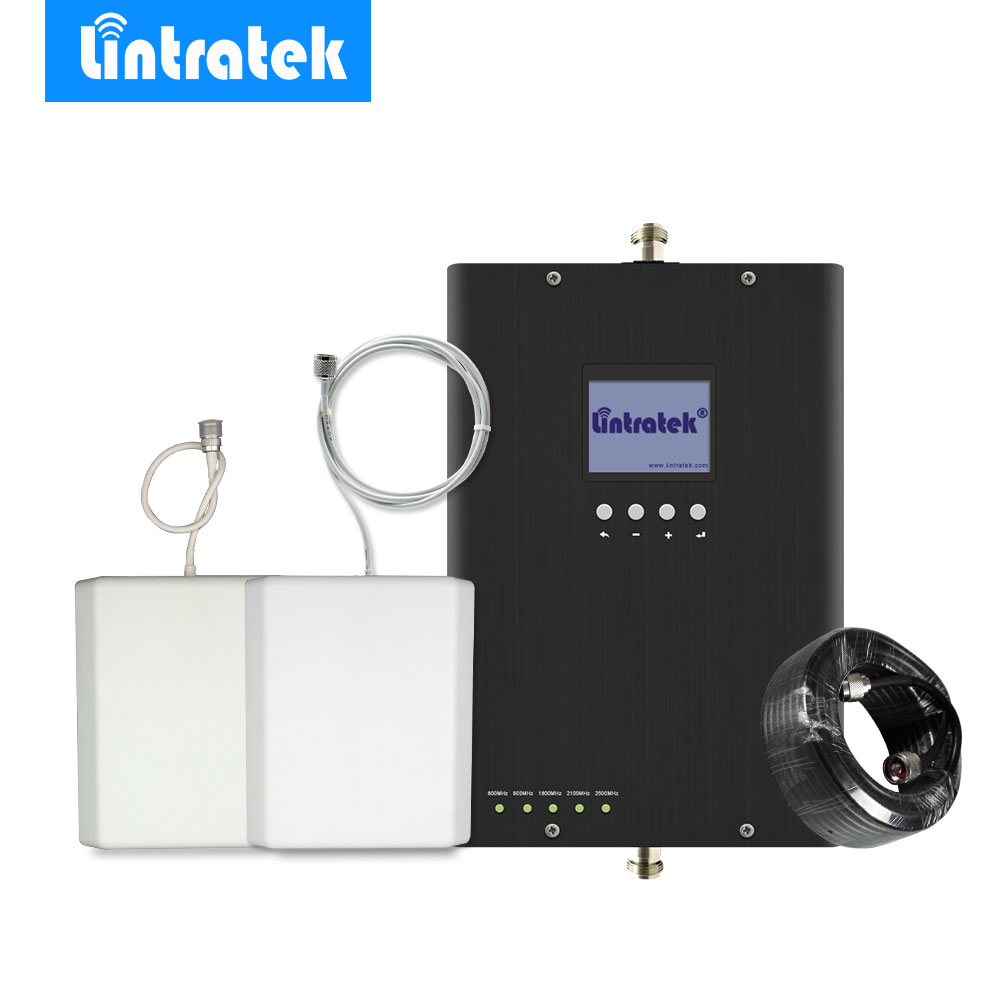 Lintratek 2G 3G 4G Cell Phone Signal Booster Repeater Amplifier E900MHz 3G 2100MH 4G LTE 800/1800/2600MHz Multi-band For Europe/