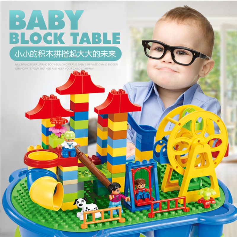 [Top] Multifunctionele Onderwijs Bouwstenen Tafel Bureau Speelgoed Pretpark Reuzenrad Blokken Diy Assemblage Model kids Gift - 5