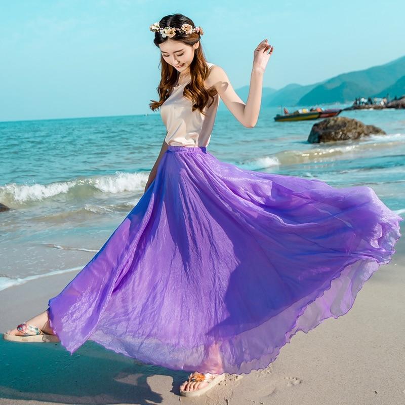 New Style Summer Polar Long Chiffon Skirt Women Big Swing Skirt Woman Skirt Sun