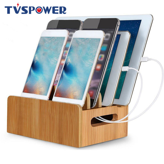 Bamboo Holder for iPhone XR 8 11Pro Stand for Samsung Cords Charging Station Docks Organizer for SmartPhone Tablets USB Charger