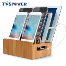 Soporte de bambú para iPhone XR 8 11Pro, estación de carga, organizador para tabletas, Cargador USB