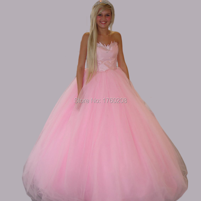 2016 Pretty Lace Up Back Tulle Puffy Ball Gown Pink Prom Dress Sweet
