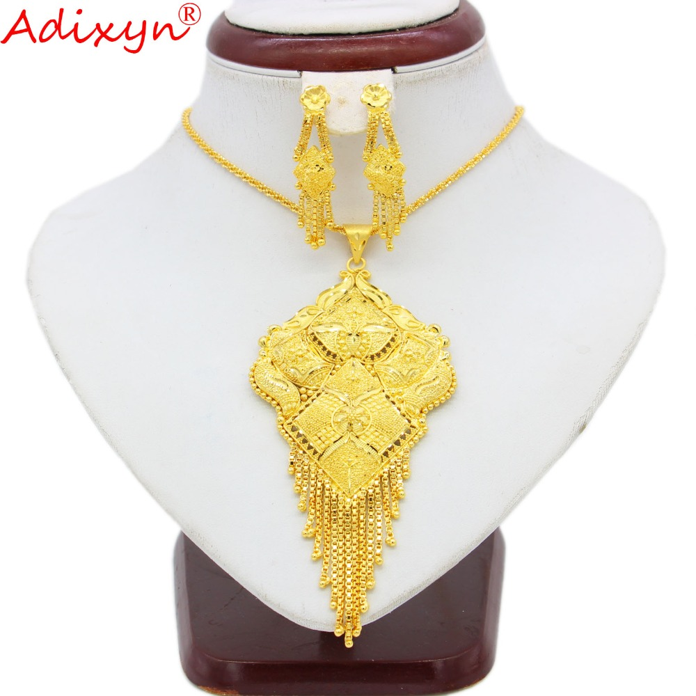Adixyn India Earrings Necklace Pendant Jewelry Sets For Women Gold Color Ethiopian African Party Gifts N09271