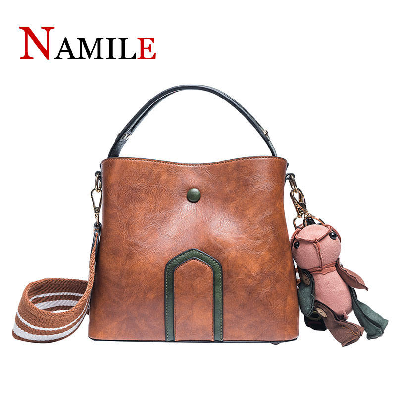 Simple luxury comfortable ladies handbag summer fashion soft and smooth ladies shoulder Messenger bag bucket handbagSimple luxury comfortable ladies handbag summer fashion soft and smooth ladies shoulder Messenger bag bucket handbag