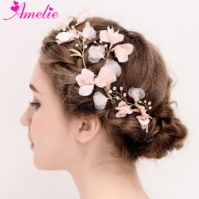 Wedding Bridesmaid Princess Prom Dress Pearl Decoration Pink Flower Side Hair Clip Accessories Fl