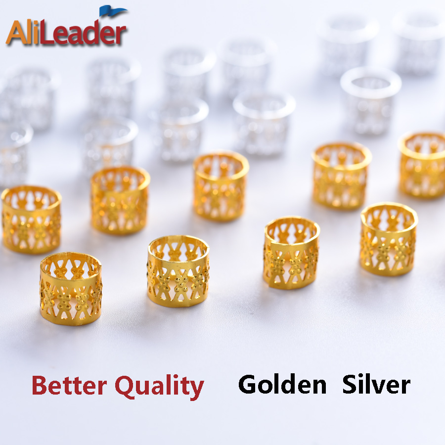 100 Pcs/Lot Adjustable Dreadlock Beads Cuff Clip Silver Golden Micro Rings Braid Beads For Braiding Hair Extensions