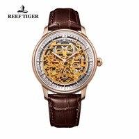 Риф Тигр/RT Повседневное Скелет автоматические часы кожаный ремешок розового золота наручные часы для Для мужчин RGA1975