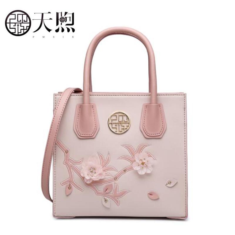 Famous brand top leather handbag bag 2018 new personality embroidered shoulder Messenger bag famous brand top leather handbag bag 2018 new big bag shoulder messenger bag the first layer of leather hand bag