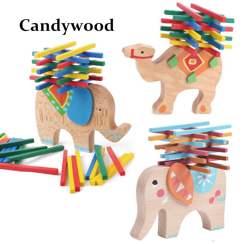 2017 New Elephant/Camel Balance Wood Toy for Children Wooden Blocks Toys Game For Children Montessori toys mother garden high quality wood toy wind story green tea wooden kitchen toys set