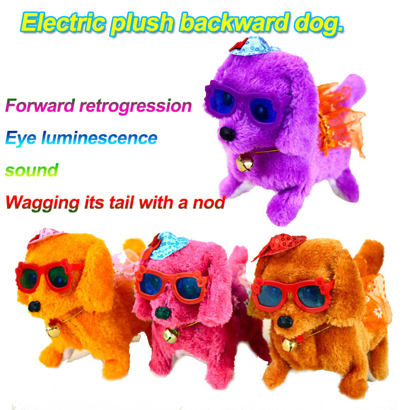 New Plush Toy Dog Bring The Sound, The Bright, The Forward Backward Dog Electric Children's Toy Stall Children's Electronic Pet