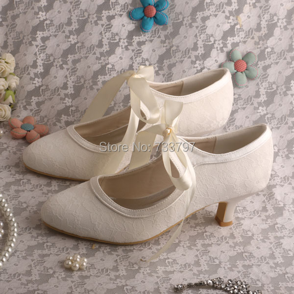 Ladies Wedding Shoes Ivory Lace Bridal Shoes Kitten Heels Closed Toe