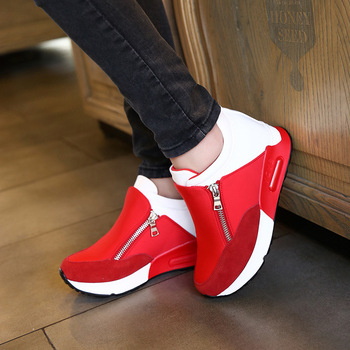 2019 nouvelles femmes chaussures décontractées hauteur augmentant respirant femmes baskets appartements formateurs chaussures plate-forme sur la livraison directe
