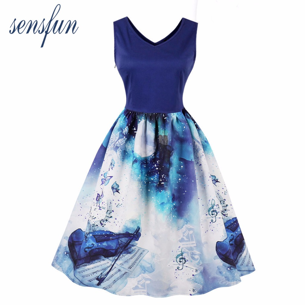 Sensfun Summer Dress Women Audrey Cotton Hepburn Robe Vintage Vestidos Retra Rockabiliy Party Dresses Sundress With Floral
