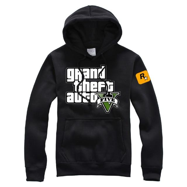 Game Grand Theft Auto V GTA5 Logo Hoodies Pullovers Cotton Printing Pattern  Mens Casual Coats Sweatshirts fe3eb1bd7