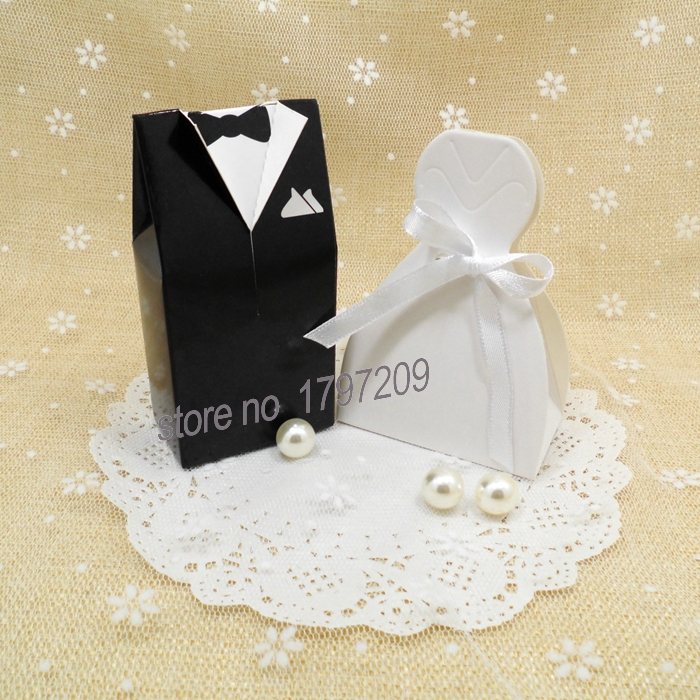 100pcs Bride And Groom Wedding Favor Bo Gift Box Candy Baby