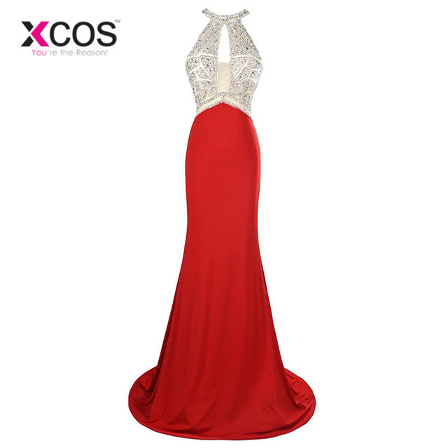 Long Mermaid   Prom     Dresses   Beaded Sequin Backless Sleeveless High Slit O Neck Red Formal Gowns Sexy Party   Dress     Prom   SC18