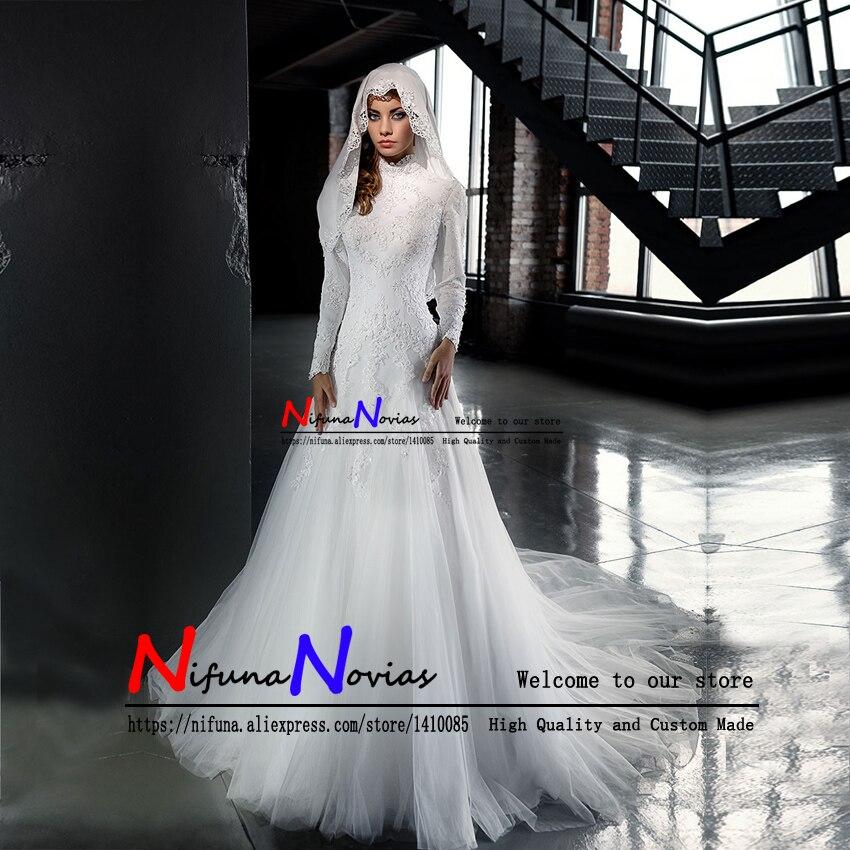 vestido de novia Muslim Wedding Dress Long Sleeves Elegant Lace Beaded High Neck Mermaid Wedding Dresses