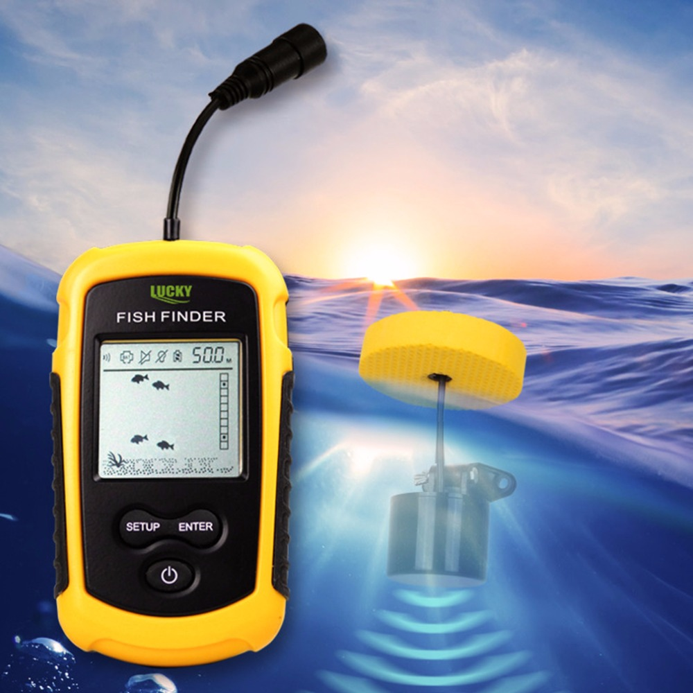 Lucky Portable Fish Finder Sonar Sounder Alarm Transducer Fishfinder 0 7 100m Fishing Echo Sounder With English Display in Fish Finders from Sports Entertainment